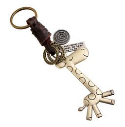 Giraffenschlüsselring online-Neue nette Legierungs-Giraffen-Retro gesponnene Rindleder-Schlüsselanhänger mit Schlüsselring-Rotwild für Kinderkette