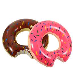 60 cm Crianças Donut Gigante Anel de Natação Inflável Para As Mulheres Homens Piscina Flutuante Adulto Verão Festa Brinquedos de Água Rosa de Chocolate boia de