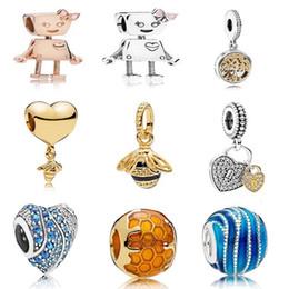 Canada Style 925 en argent Sterling Bella Charm Robot Rose Or émaillé Perle Convient Pandora Bracelet DIY pour Femmes Bijoux Accessoires Offre
