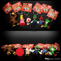 18pcs / lot nette Mario Bros Keychain Mario Luigi Pilz Toad Prinzessin Peach PVC Action-Figur Spielzeug von Fabrikanten