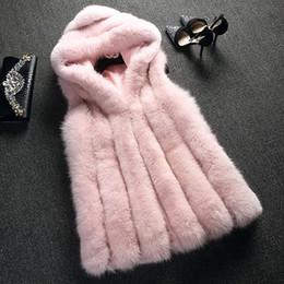 2019 chaleco largo de piel con capucha 2019 Nuevo chaleco de piel de imitación de piel de zorro abrigo con capucha chaleco raya vertical medio-largo chaqueta de invierno Outwear casaco feminino chaleco largo de piel con capucha baratos