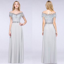 791282f039b3 Designed Grey Sheer Neck Short Sleeves Long Prom Dresses Sequins A Line  Floor Length Formal Party Evening Gowns Cheap CPS1239 discount long grey  satin sexy ...