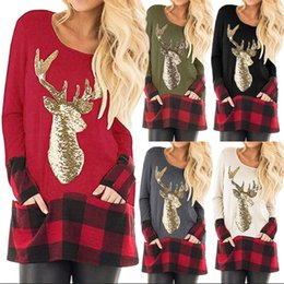 Женские рождественские блузки онлайн-Женщины плед Рождество футболка с длинным рукавом лось печати рубашки повседневная топы тройники блестки олень О-образным вырезом блузки Blusas LJJA3514-13