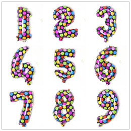Puntini di partito per palloncini online-16inch Colorful Round Dots Aluminium Coating Number Balloons Kids Toys Happy Birthday Party Wedding Gifts Decorations CCA11810 500pcs