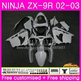 carrinhos brancos zx9r Desconto Carroçaria Para KAWASAKI NINJA ZX-9R ZX900 ZX 900 ZX9R 02-03 Corpo Gloss Branco Pérola 64HM20 900CC ZX 9 R ZX9R 02 03 ZX 9R 2002 2003 ABS Carenagem