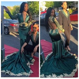 be8b6d086560 African Hunter Black Girls Mermaid Prom Dresses New 2019 Deep V Neck Sexy  Backless Miss Pageant Dress Train Lace Long Sleeve Evening Gowns
