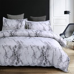 blue modern bedding sets Promo Codes - 5 Colors Bedding Set Nordic Modern Style Marble Pattern Printed Duvet Cover Set Double Full Queen King Size Bed Linen 8 Size