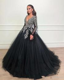 Vestido de fiesta negro africano vestidos de baile de manga larga 2019 formal cuello en V profundo Lujo abalorios de cristal de tul vestidos de noche árabes desde fabricantes