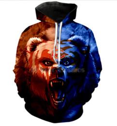 Sudaderas con estilo americano online-Hot Fashion Men / Women Harajuku Style Fútbol americano Chicago Bears Pocket Hoodies con capucha 3D Imprimir Unisex Tops Al por mayor y al por menor RW0187