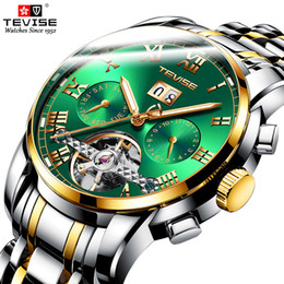 tevise brand watches Coupons - Top Luxury Brand TEVISE Automatic Mens Watches Men Stainless steel Tourbillon Calendar Mechanical Wristwatch Relogio Masculino