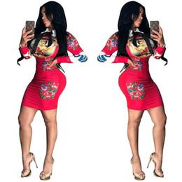 lange mehrfarbige kleider Rabatt Sexy Kleid der Frauen 2019 neue Ankunfts-fester Rock-Standplatz-Kragen reizvolle gedruckte Kleidung Langhülse Mehrfarben optional