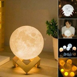 Canada 8/10/13/15/18/20 CM Impression 3D LED Moon Lamp USB LED Veilleuse Moonlight Touch Sensor Enfants cadeau Offre