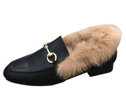 Saltos de pele de coelho on-line-2019 Novo Estilo de Inverno Mulheres Sapatos Baixos de Salto Baixo Sapatos Únicos Forrado de Pele Quente de Couro Casual Mocassins De Pele De Coelho Sapatos Botas Botas