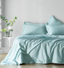 Jacquard azul comforter conjuntos on-line-Conjunto de cama queen size king size disponível Capa de edredão set 3pcs macio e aconchegante céu azul cor pura consolador capa conjunto