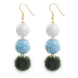 New Fashion Gold Plated Round Earrings For Women Crystal Multi Beads Fur Crystal Beads Dangle Earring Xmas Gifts