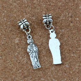 Jungfrau armbänder online-100pcs / lot baumeln antike silberne Jungfrau-Mary-Legierungs-Religion-Charme-Korne passten europäische Armband-Schmucksachen DIY 7.5x37mm A-413a
