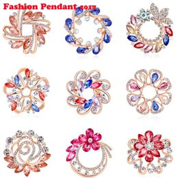 rhinestone brooches for sale Promo Codes - Factory Direct Sale Assorted Gold Color Plated Color Crystal Rhinestones Flower Fashion Brooch Pins for Women Assorted