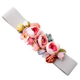 Doce Elegante Mulheres Rosa Flor Belt Cintura Elástica Cadeia de Casamento Fivela Cintura Boho Floral Cinto Acessórios de