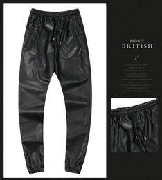 Schwarze rote tarnhose online-2018 Winter High Street Kleidung Herren PU Skinny Pants Camouflage Rot Silber Schwarz Sexy Bleistift Hose