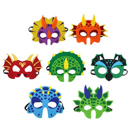 face mask animal for kid Promo Codes - Dinosaur Party Cartoon Masks Cute Animal Decorative Party Accessories Favors Face Mask for Themed Party Masquerade Halloween Kids C21