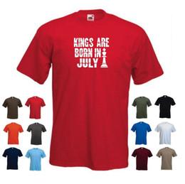 2019 roi personnalisé «Les rois sont nés en juillet» Tee shirt Funny pour homme, anniversaire roi personnalisé pas cher