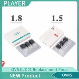 protetor de anel de vapor Desconto 2019 OVNS JC01 Substituição 0.7 ml 1.5 Ohm 4 unidades / pacote Pods Cerâmica 1.8ohm Cabeças para JC01 bateria Kit Autêntico