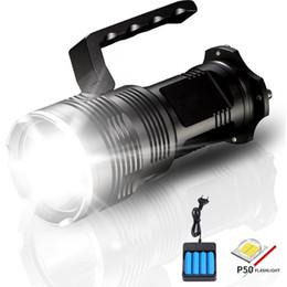 Bateria lanterna alta lumens on-line-Alta Potência Lanterna LED 2500 Lumens XHP50 USB Lanterna Tática Recarregável Portátil LED Holofote Lâmpada com Carregador de Bateria