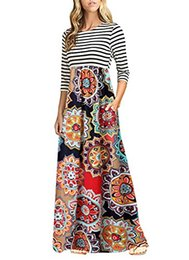 maxi robes de soirée florales Promotion OURS Femmes Casual Striped Sleeveless Floral Print Bohème Tank Robes Party Evening Long Maxi Robes Poches
