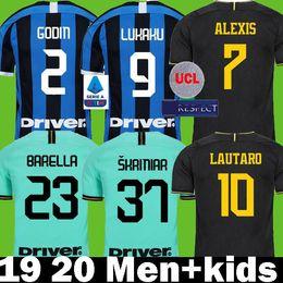 Anti set online-Lukaku LAUTARO Škriniar Inter lungo 2019 2020 di Milano calcio maglie ALEXIS SENSI Barella maglia 19 20 Palloni Kit top shirts set Uomo Bambini