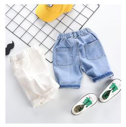 jeans dei bambini di modo Sconti I pantaloni di marca di estate dei bambini progettano i bambini di colore solido dei jeans dei bambini di marca di colore solido dei bambini 2019 con l'abbigliamento casuale unisex di modo del pacchetto