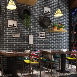 2019 briques métalliques Brique Papier Peint Rétro Cuisine Restaurant Autocollant Étanche Autocollant Mural Bar Dortoir Magasin De Vêtements PVC Mur Papiers Rouleau briques métalliques pas cher