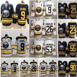 Buffalo Sabres 9 Jack Eichel Jersey Buz Hokeyi 26 Rasmus Dahlin 53 Jeff Skinner 50TH Yıldönümü Lacivert Beyaz Erkekler Kadınlar Çoc ... nereden rangers jersey brassard tedarikçiler