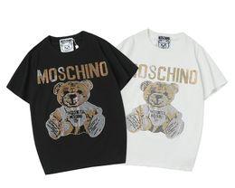 Ursinhos de peluche on-line-Estilo do verão das mulheres Designer de t-shirt Das Mulheres Camisa de Manga Curta Roupas Rhinestone decorar Teddy bear t camisas Tripulação Pescoço Designer Tops Tees