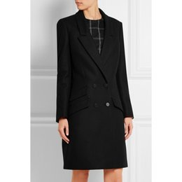 mulher casaco carreira preto Desconto Manteau femme reino unido nova moda 2019 lapela entalhada simples carreira casaco longo mulheres casaco preto inverno casacos quentes femininos