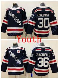 Youth New York Hockey Rangers 36 Mats Zuccarello Jersey 30 Henrik Lundqvist  Stitched Ice Navy Kid 3852e3da0