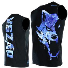 2019 riesentank VSZAP GIANT Herren ärmellose Weste Schwarz MMA Tank Tops Fitness Kampf Muay Thai Kampfbewegung Baumwolle Blau Frost Wolf S-2XL # 504549 günstig riesentank