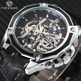 2019 мужские часы 3d FOSINING Fashion Casual Auto Mechanical Watch Men Leather Strap 3D Bolt Skeleton Dial Mens Watches Watches Top  скидка мужские часы 3d