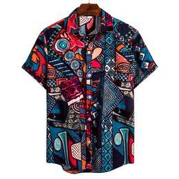 Chemise de plage en lin en Ligne-Mens ethnique à manches courtes Beach Hawaiian Shirt été tropical coton impression lin lin Hawaiian Button Down chemises plus la taille