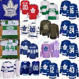 Kadri jersey online-Custom Toronto Maple Leafs Jersey Hombres Mujeres Jóvenes Marner Rielly Tavares Matthews Kapanen Kadri Gardiner Marleau Hyman Johnsson Jake Muzzin