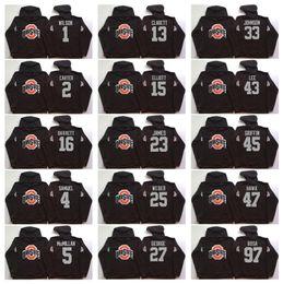 B jaquetas on-line-Ohio State Buckeyes Homens Jerseys 15 Elliott 97 Bosa 12 C. JONES 16 BARRETT 1 B. Moletom Com Capuz Preto Moletom Com Capuz Jaquetas Camisola