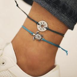 kompass für armband Rabatt 2 teile / satz Handgemachte Ethnische Schildkröte Kompass Fußkettchen Strand Sandale Knöchel Silber Armband Boho Yoga Fußkettchen Für Frauen Schmuck
