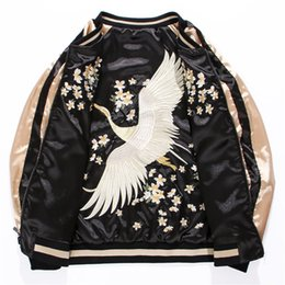Bestickte satinjacken online-Yokosuka Cranes Embroidered Flying Jacket Herren und Damen Short Baseball Jacket Beidseitig Satin Bomber Lovers Outwear
