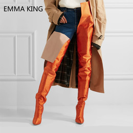 2019 stivaletto blu sulle scarpe da ginocchio 2019 Spring New Blue Over The Knee Boots Tacchi a spillo Stretch Winter Shoes Donna Fashion Leather Thigh High Boots Scarpe da donna sconti stivaletto blu sulle scarpe da ginocchio