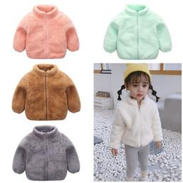 Hoodies de lã para meninas on-line-Meninos Meninas Sherpa lã com capuz Jacket bebê Crianças Outono-Inverno Quente Fleece Pullover Zipper Coats Berber Plush Sweater Fur Moletons C92704