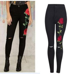high rise jeans Coupons - Black Floral Jeans Women Fashion Rose Embroidery Design High Waist Slim Skinny Jean Knee Holes Design Trousers