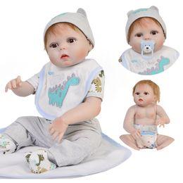 2020 silicone realista para bonecos de bebê 23 Polegada Boneca bebes reborn boy Corpo Cheio De Silicone Vinil Reborn Bebês Bonecas 57 cm Realistic Newborn Dolls Crianças presente da moda desconto silicone realista para bonecos de bebê