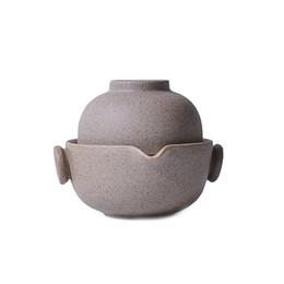 Handgefertigte retro grobe Keramik Reise-Tee-Set 1 Tasse + 1 Topf, Teetasse Teekanne chinesische Keramik Teekanne Wasserkocher Porzellan Gaiwan Teetasse von Fabrikanten