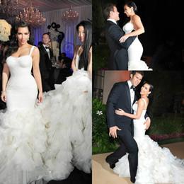 b0540cf8f5 dress long sleeve kim Coupons - Luxury Kim Kardashian Mermaid Wedding Dresses  Sexy Straps Organza Ruffle