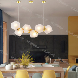 Barra de luz de suspensión online-Lámparas colgantes Moderno E14 Milky Honeycomb LED WELLES CRISTAL CRISTAL DESPENSIÓN DE LARZ CIOR A LUGAR PARA INDORTE BAR CAFE HOME DHL