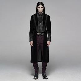 tecidos de comprimento médio Desconto Jaqueta punk gótico dos homens de comprimento médio dos homens de veludo jacquard tecido slim fit festa à noite desempenho desempenho blusão